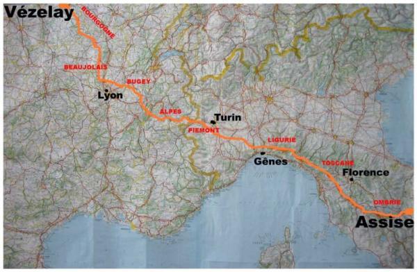 On a décidé de créer un nouveau chemin de randonnée qui rallie Vézelay (France) à Assise (Italie).
